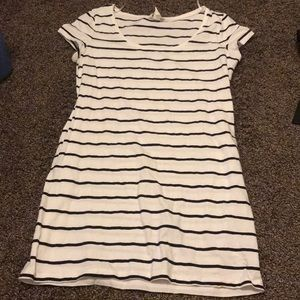 Large H&M white and black striped dress